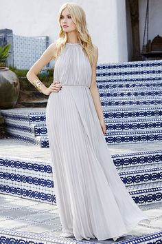 Everything will be a dream in the Bariano Melissa Light Grey Maxi Dress! Gold coil necklace supports a pleated chiffon bodice, with a maxi skirt below. Classy Wedding Dress, Maxi Dress Wedding, Classy Dress, Grey Chiffon Dress, Grey Maxi, Short Lace Bridesmaid Dresses, Pink Mini Dresses, Frack, Dress Outfits