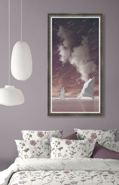 Painting of violet sky with meteor shower. Available as acrylic, metal, canvas and framed print in different sizes, click through for the details and more images of the collection. Color Shades, Shades Of Purple, Wall Art Prints, Framed Prints, White Wall Art, Meteor Shower, Tree Wall Art, Red And White, Tapestry