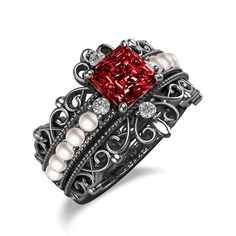 Vintage Style Pearl Ring With Lab-created Ruby Studded for Women