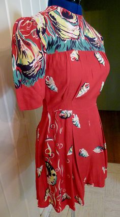 PEARL HARBORFabulous Border Print 1940s Rayon Play Suit by snootylilcutie, $295.00