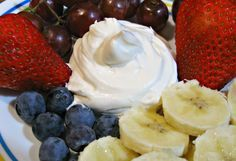 Cream Cheese Fruit Dip made with cream cheese, cool whip, powdered sugar, and vanilla (cream cheese desserts healthy) Yummy Recipes, Dip Recipes, Delicious Desserts, Dessert Recipes, Yummy Food, Dessert Ideas, Cheese Recipes, Sweet Recipes, Pastries