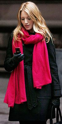 For winter/fall: a black trench with a bright pink scarf.