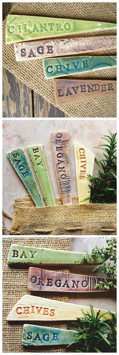 Pretty ceramic garden markers, which can be used indoors and out. Each herb marker is hand cut, letter stamped and glazed in food safe glaze.