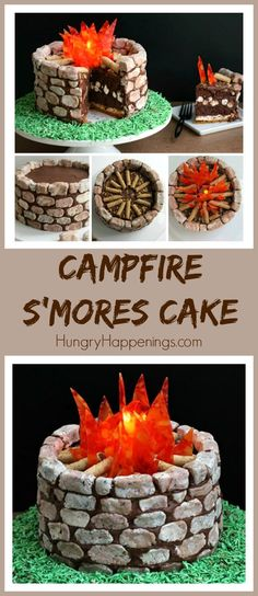 Campfire S'mores Cake with layers of gooey chocolate brownie, marshmallows, and graham crackers, all decorated with cookies 'n cream fudge rocks.