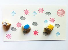 weather hand carved rubber stamp set. by talktothesun on Etsy