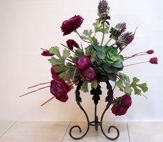 Love These Succulents And The Plum Flowers! Unique SILK FLOWER ARRANGEMENT