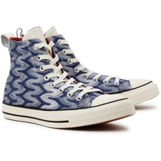 Hi-Top Trainers Converse X Missoni Chuck Taylor All Star... ($110) ❤ liked on Polyvore featuring shoes, sneakers, round cap, high top trainers, glitter high tops, hi tops and lacing sneakers