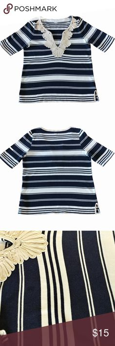 """J.Crew Top Blue Ivory Striped Short Sleeve V-Neck Change up your casual look with this V-Neck striped top from J.Crew! The embroidered accent at the neck draws attention to this stylish piece!  Size:Large Color:Navy blue & ivory Style Type:Blouse Care:Machine Washable Fabric:70% Cotton; 30% Rayon Measurements:Length 25""""; Pit-to-Pit 18""""; Waist 36"""" More Information:Pullover condition. Deep V-Neck. Short sleeves. Medium weight. Split at side hem. Gently worn. Shows minimal signs of wear.  Add 1…"""