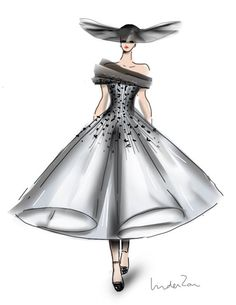 Ralph & Russo couture Fall Winter 2014. Fashion Sketch by Linda Zoon