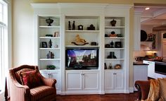 Traditional built-in bookcase with TV