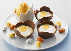Chocolate egg shells filled with chocolate mousse - a version for the kids too!