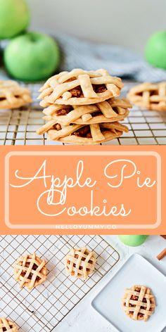 Apple Pie Cookie Recipe. Adorable Fall treat for kids! #helloyummy Apple Pie Cookie Recipe, Apple Pie Cookies, Cookie Pie, Pumpkin Cookies, Cookie Recipes, Quick Dessert Recipes, Kid Desserts, Holiday Desserts, Sweet Recipes