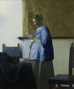 ca. 1662-1665 - Vermeer, Johannes - Woman in Blue Reading a Letter (Brieflezende vrouw in het blauw) - Oil on canvas 46.5 x 39 cm. - Rijksmuseum, Amsterdam