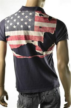 #T-shirt Polo #Ralph Lauren Mens Denim & Supply S/S Shirt Flag Decal Sz M NWT