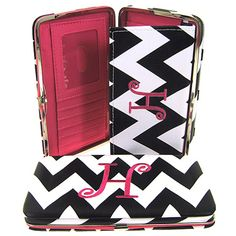 """Letter """"H"""" Initial Personalized Chevron Flat Wallet Clutch Purse. Size : 7.5w X 4.5h X 1d in. - This wallet is Letter """"H"""". Material : PVC Faux Leather. Snap Closure. Plenty of Pockets for Credit Cards. Checkbook Holder Cover Inside."""