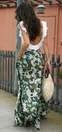 Floral Maxi Skirt + Ruffled Bodysuit