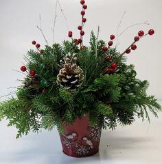 """White Christmas"" Birch Pot Arrangement — Gardens of The Blue Ridge Christmas Items, White Christmas, Christmas Wreaths, Xmas, Fraser Fir, Christmas Floral Arrangements, Red Berries, The Perfect Touch, The Fresh"