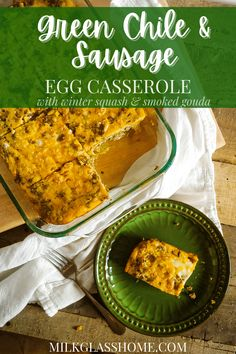 This easy egg casserole has just enough heat from the green chile to wake you up and just enough sweetness from the roasted squash and smoked gouda to keep you in check. Add a hearty dose of protein from the sausage and egg and this breakfast will keep you going all day! #eggcasserole #protein #roastedsquash #cheesyeggs Green Chile Egg Casserole, Easy Egg Casserole, Sausage Egg Casserole, Sausage And Egg, Easy Healthy Recipes, Whole Food Recipes, Yummy Recipes, Smoked Cheese
