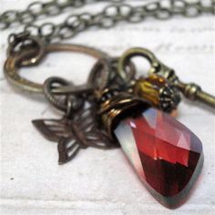 Red Crystal Necklace Crystal Pendant Necklace Wire by pink80sgirl, $39.00