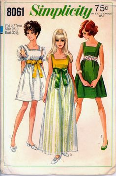 60s Special Occasion Dress Mini Maxi Simplicity 2523 Bust 30 half Vtg Pattern. Mine was sheer pink, (lined) with a green velvet tie.