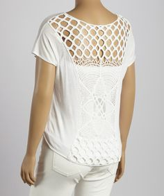 Another great find on #zulily! Off-White Crochet Tie-Front Cap-Sleeve Top - Plus by Perch by Blu Pepper #zulilyfinds