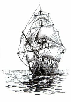 117 Best Ship drawing images in 2019 Pirate Ship Drawing, Boat Drawing, Drawing Sketches, Art Drawings, Landscape Drawings, Tattoo Sketches, Ship Sketch, Old Sailing Ships, Tattoo Set