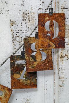 Rusty number stencil clip garland chain wall by AnitaSperoDesign, $80.00