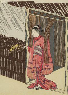 Woman Holding a Branch of Yamabuki (Parody of the Story of Ôta Dôkan).  Woodblock print, 1767, Japan, by artist Suzuki Harunobu