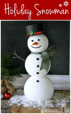 Christmas DIY: Illustration Description Cute Holiday Snowman made from FloraCraft Foam Balls and Snowman embellishments. Christmas Crafts For Kids, Christmas Snowman, Christmas Projects, Halloween Crafts, Holiday Crafts, Christmas Decorations, Christmas Ornaments, Outdoor Snowman Decorations, Christmas Trees