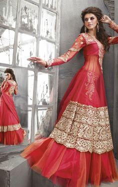 Flamboyant Red Salwar Kameez - Lehenga Kameez