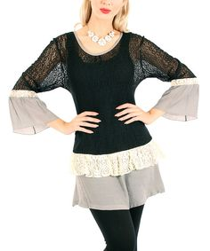 Look at this Lily Black & Gray Lace Tiered Tunic on #zulily today!