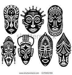icons website Search over 28444869 icons icon set web icons logo business icons button people icon symbol - Set of Tribal African Masks African Tribal Tattoos, Tribal African, African Art Projects, African Symbols, Tribal Symbols, Art Du Monde, Afrique Art, Mask Drawing, Tiki Mask