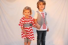 Brother sister Christmas chevron, Chevron Valentine's day sibling outfits, Christmas outfits for sister brother on Etsy, $80.00