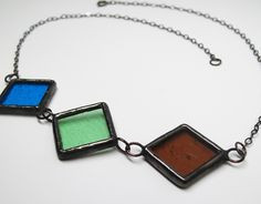 "Mod Trio - 19"" Stained Glass Statement Necklace by faerieglass on Etsy"
