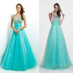 Stock Long Turquoise Prom Ball Party Dresses Formal Evening Gown 2 4 6 8 10 12 #Handmade #Corset #Formal