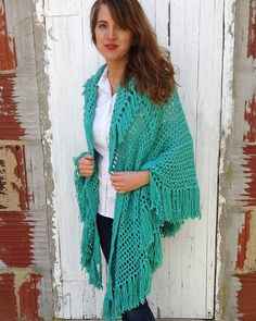Italian Cape Crochet Pattern available from MaggiesCrochet.com. This is great for fall worked in worsted weight yarn with wool or spring worked in cotton yarn shown in green.