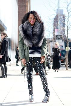 Fur + Printed pant (as modeled by our own Danielle!)