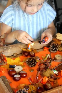 Fall themed sensory small world play with a story red leaf, yellow leaf Sensory Bins, Sensory Play, Baby Sensory Classes, Imagination Tree, Autumn Display, Small World Play, Messy Play, Fall Crafts For Kids, Yellow Leaves
