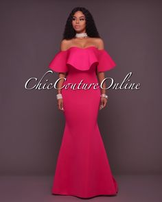 Angelica Fuchsia Off-The-Shoulder Ruffle Ponti Gown