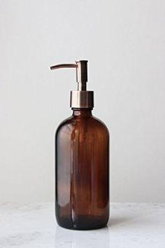 Market Amber Glass Soap Dispenser w/ Rustic Copper Pump