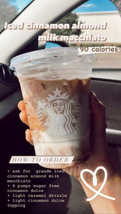 Low Calorie Starbucks Drinks, Bebidas Do Starbucks, Healthy Starbucks Drinks, Starbucks Iced Coffee, Sugar Free Starbucks Drinks, Fun Drinks, Yummy Drinks, Beverages, Secret Starbucks Recipes