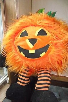 2 Very Large Plush Halloween Pumpkins Smiley Faces Hairy Collectible Decorations