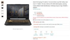 ASUS FX566HC-HN093T Price in India ( i7-11800H / RTX 3050 / 8GB / 512GB SSD ) 1