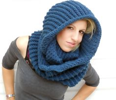 Serenity blue winter infinity scarf winter hooded by ValkinThreads, $68.00