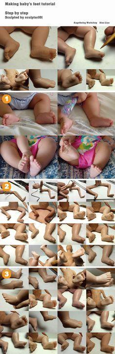 Making baby feet tutorial by sculptor101.deviantart.com on @DeviantArt