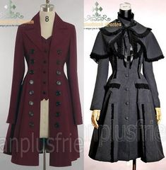 Victorian Style Jackets | caped Edwardian coat available in grey, black, red and lilac $142 ...