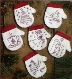 Redwork Embroidery Pattern and Kit, Redwork Mittens, Christmas ...