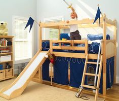 Shop Wayfair for your Twin Castle Bed with Slide. Give your little knight the fortress of his dreams with the Twin Castle Bed with Slide, and watch his imagination run wild. Bunk Beds Boys, Low Loft Beds, Kid Beds, Bunk Bed Tent, Playhouse Bed, Tent Canopy, Cama Ikea Kura, Bunk Bed With Slide, Bunk Beds With Stairs