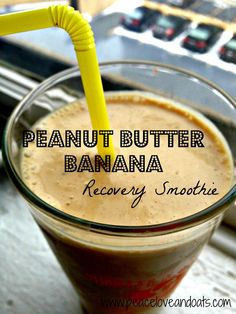 Peanut Butter Banana Recovery Smoothie by Peace Love & Oats. Tried this today! Low Carb Recipes, Healthy Recipes, Post Workout Smoothie, Peanut Butter Banana, Juice Smoothie, Protein Shakes, Baking Ingredients, Healthy Smoothies, Cookie Dough