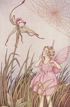 Illustration by Ida Rentoul Outhwaite - fairy Fantasy Kunst, Fantasy Art, Orchids Painting, Cicely Mary Barker, Kobold, Vintage Fairies, Love Fairy, Beautiful Fairies, Flower Fairies